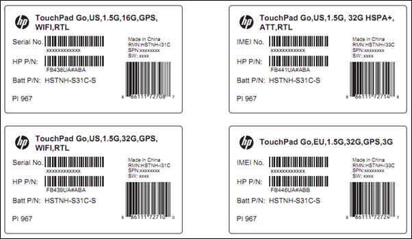 hp touchpad go labels