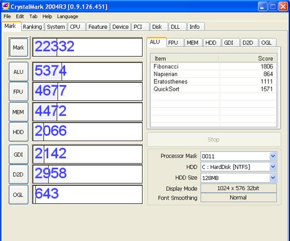 hp mini 1000 crystal mark benchmark