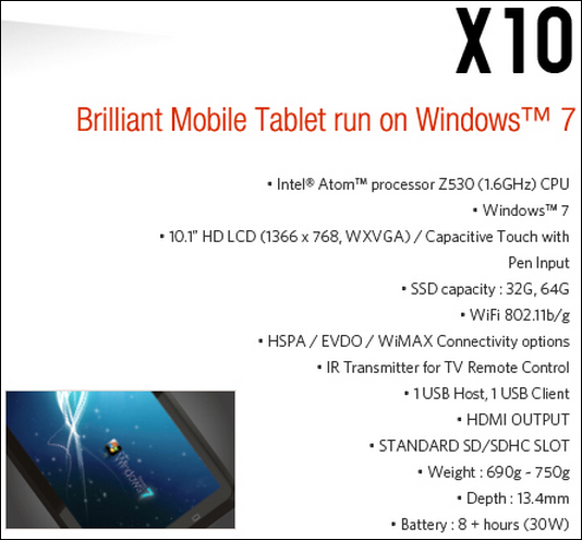 viliv x10 (windows) spec sheet