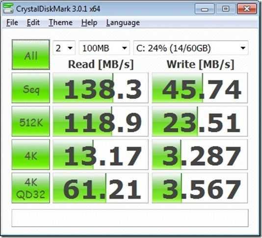 creystaldisk - fresh x64 w7hp  4gb ssd