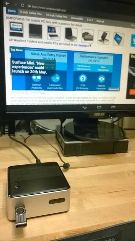 Intel NUC (DN2820FYKH, Celeron N2820) set-up and first test with
