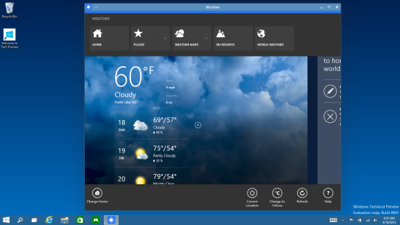 Above: Windows 10 Universal Apps on the Desktop.