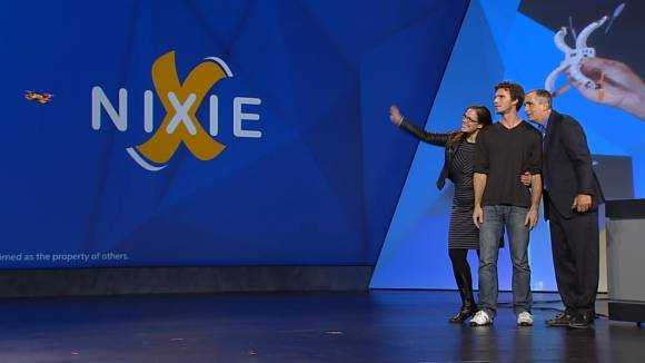 Nixie takes a photo on stage at CES 2015